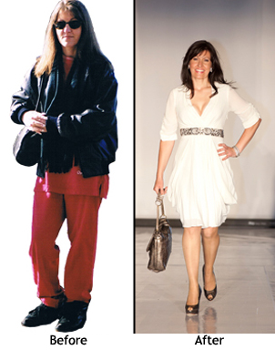 Before and after visual testimonial for Personal stylist Cindy Newstead
