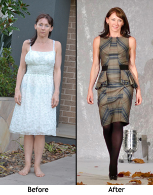 Kyle before and after her style makeover with Cindy Newstead Fashion stylist in Melbourne