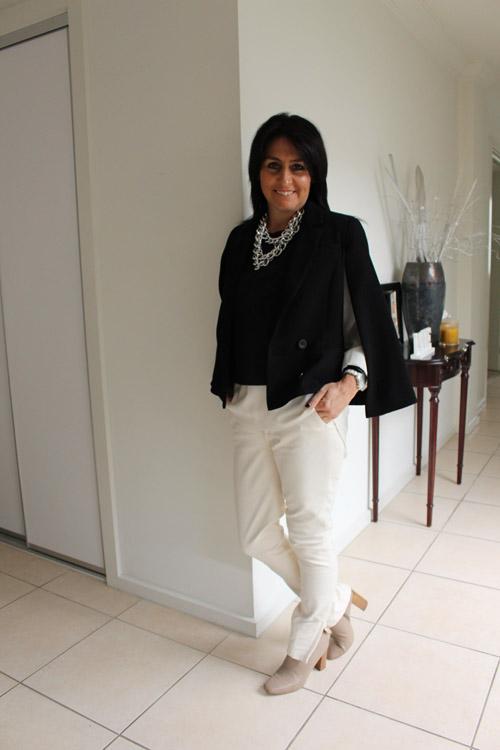 Zara pant/shoe/vest and Sportsgirl blouse