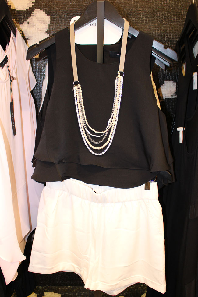 Dejuba top $59.95, shorts $69.95 and necklace $39.95
