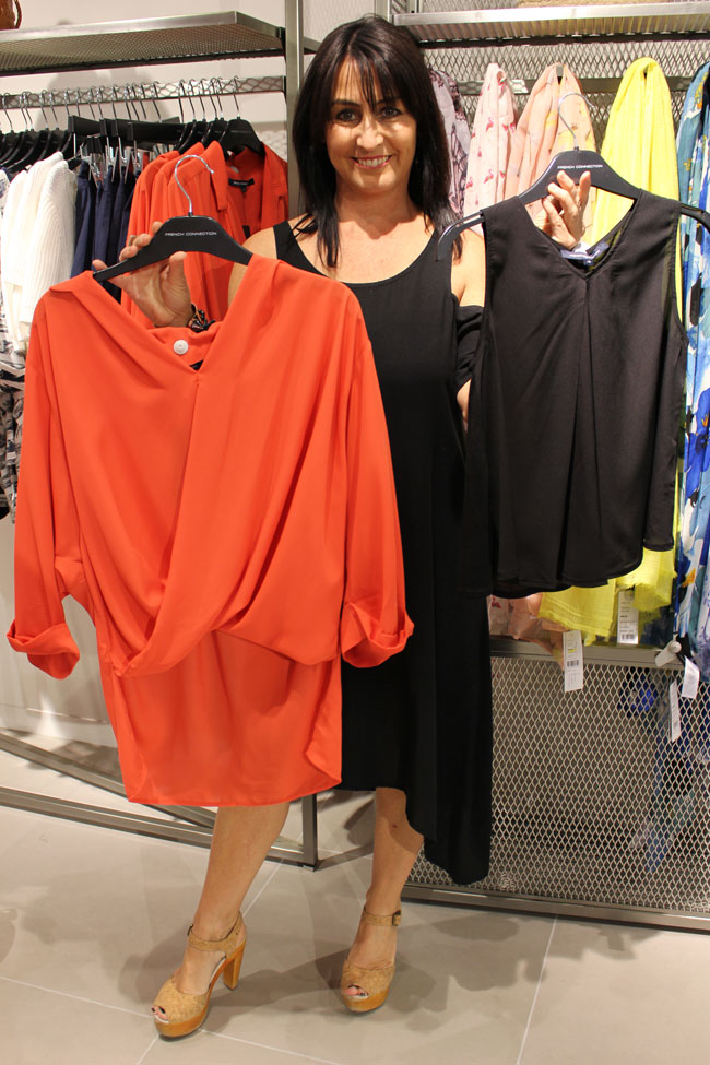 French Connection Orange top $89.95 and black $49.95