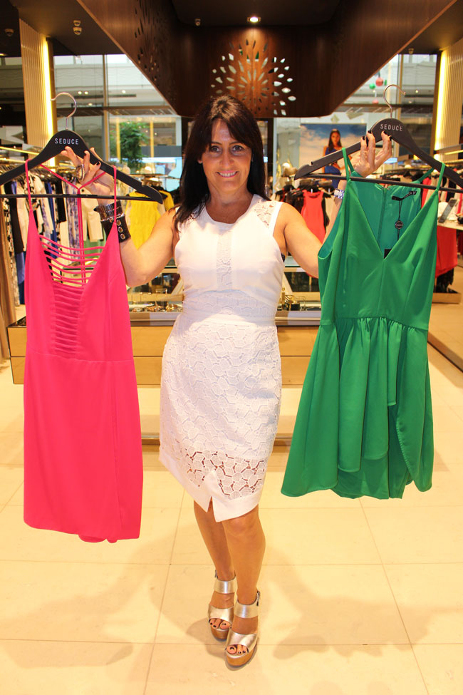 Seduce pink dress $159.95, grenn dress $169.95 and middle white dress $219.95