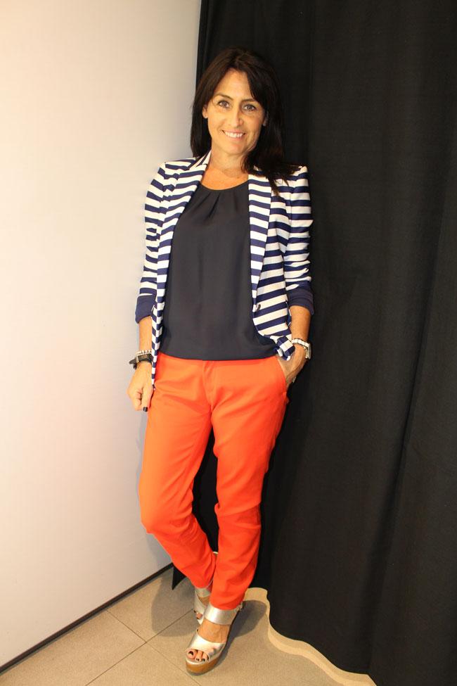 Zara top $59.95, blazer $139 and pants $79.95