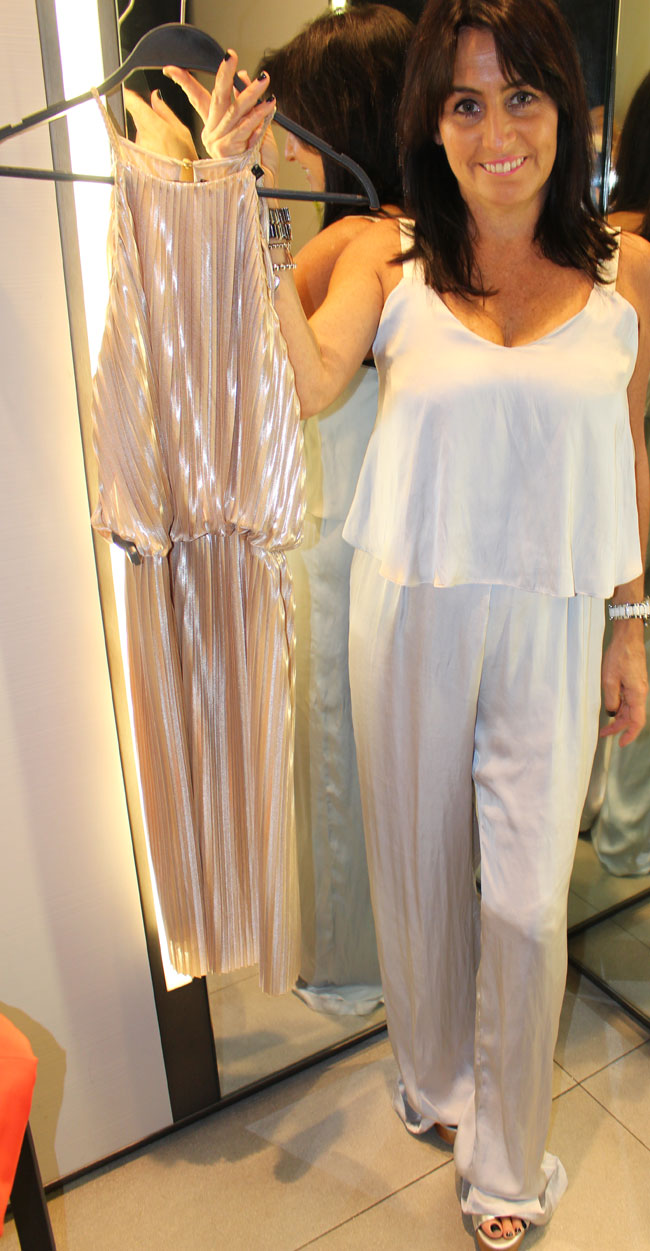Zara gold dress $99 and silver jumpsuit $89.95
