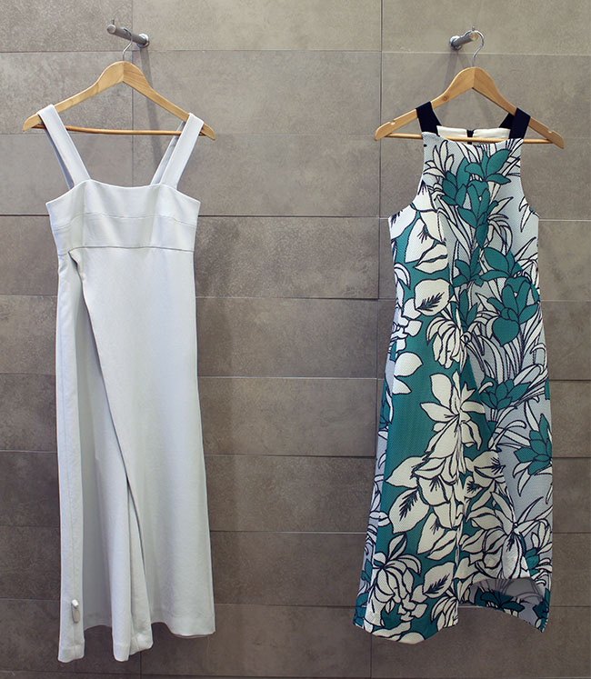 Veronika Maine Jumpsuit (left) $299 and the right dress is on sale for $107.60
