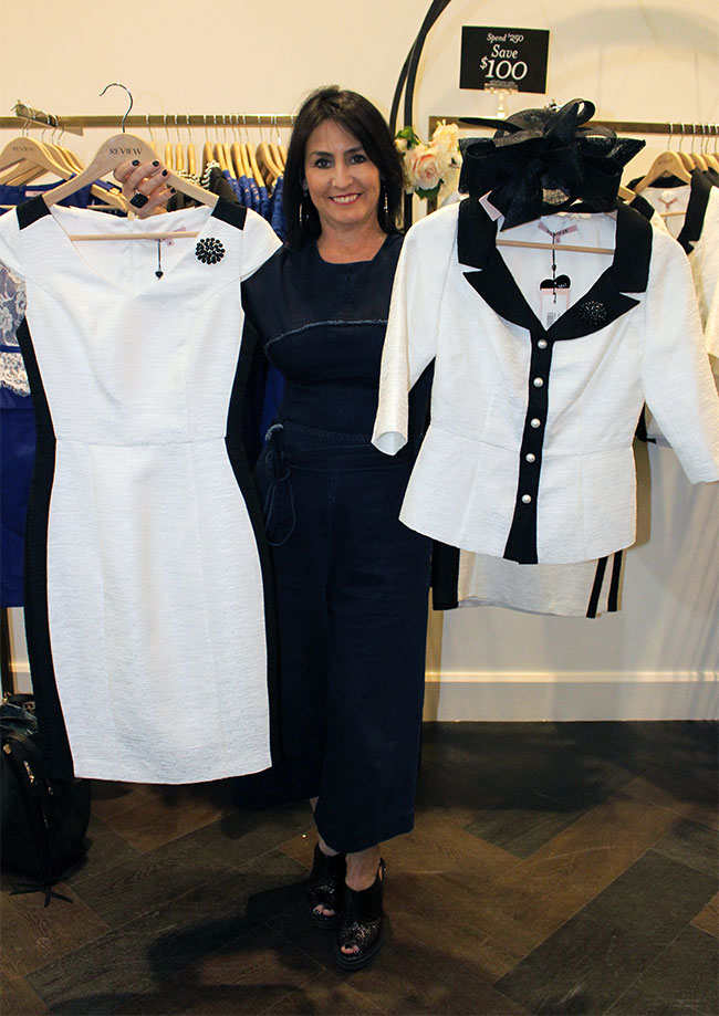 Review dress $279.99, jacket $279.99 and fascinator $79.99