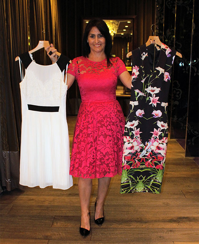 Ted Baker floral dress $399, cream/black dress $399, pink lace dress I'm wearing $549 with shoes $299