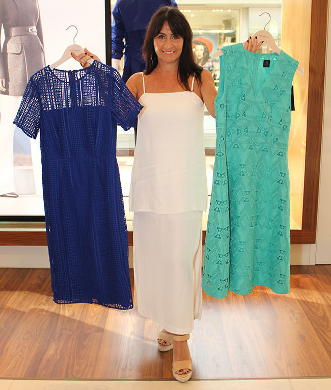 David Lawrence blue dress $229 and green $329