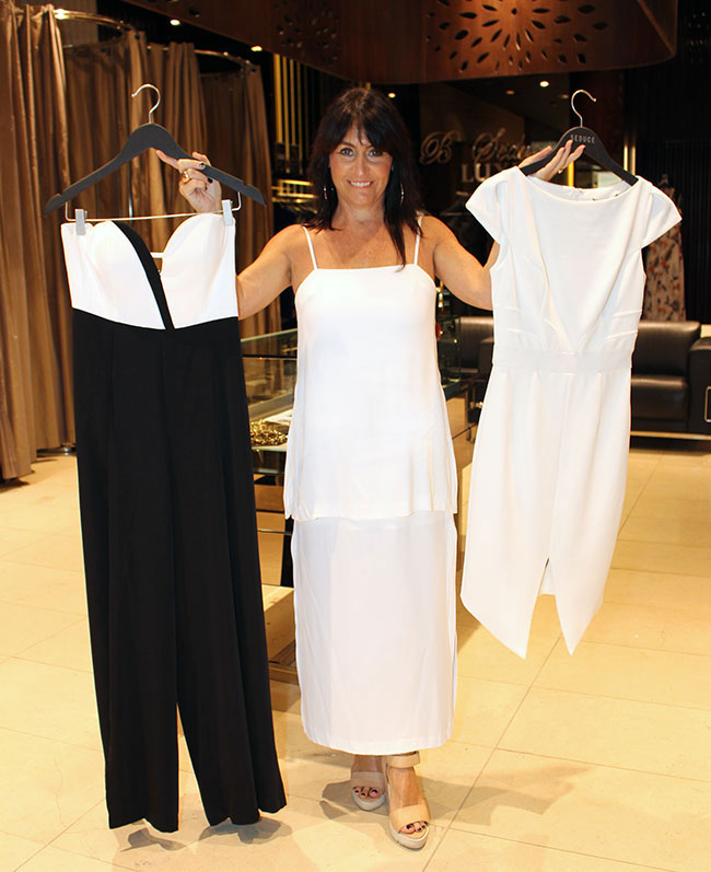 Seduce jumpsuit $189 and white dress $159