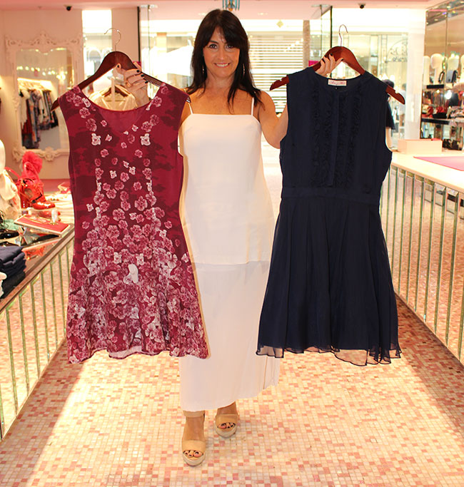 Alannah Hill maroon floral dress $329 and navy $369