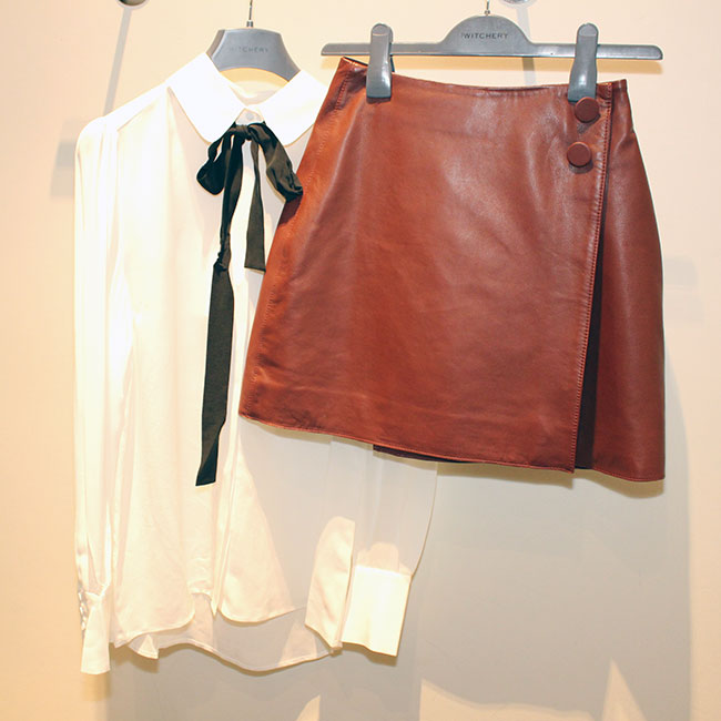 Witchery top $159.95 and leather skirt $299.95