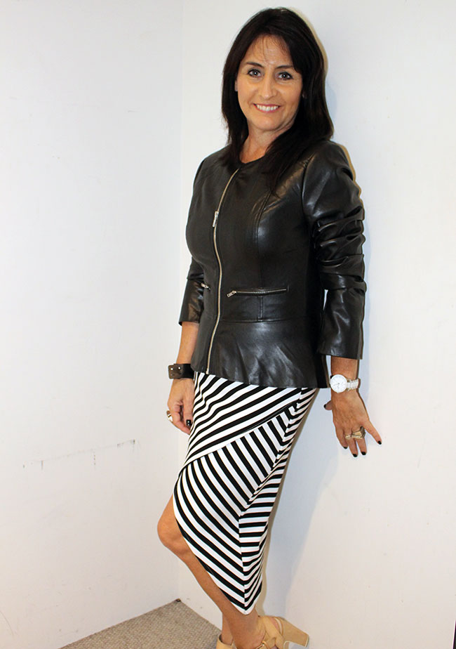 French Connection leather jacket as a top $169.95 and skirt $69.95