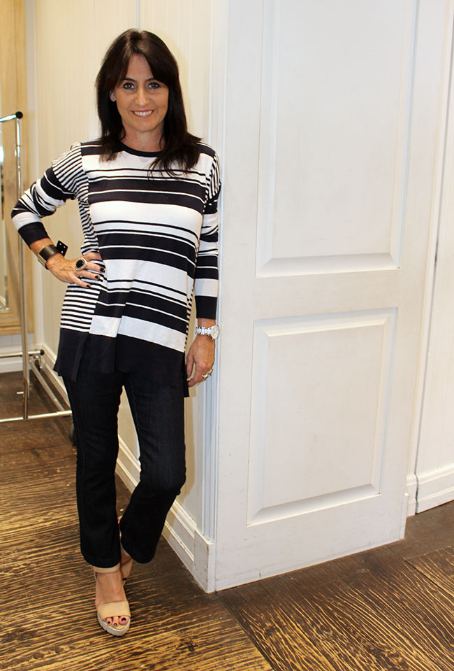 Seed stripe knit $99.95 and denim pant $99.95