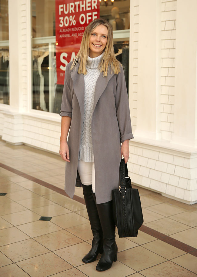 Rachel wearing Seed coat $169.95 with jeans $89.95, top $99.95 and bag $89.95