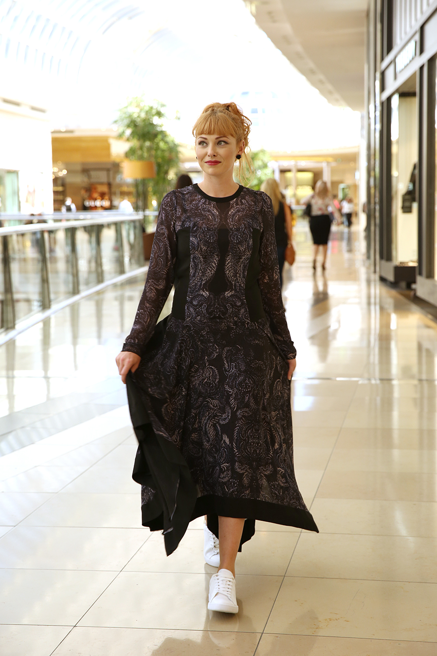 Witchery dress $249.95 and sneakers $129.95