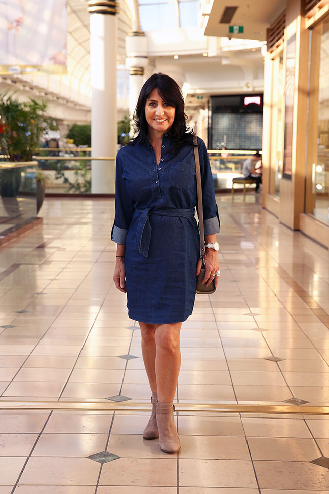 French Connection dress $129.95, boots $189.95 and bag $69.95