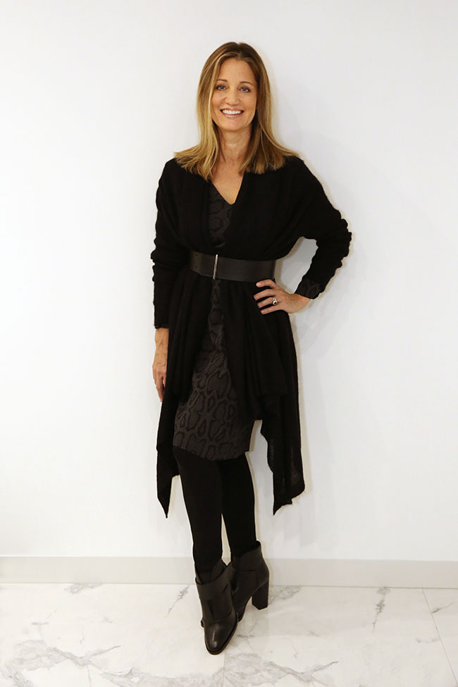 Country Road dress, Metalicus cardigan and Jo Mercer boots