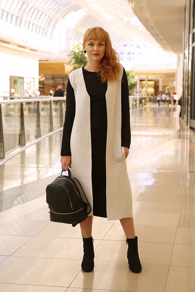 Witchery dress $149.95, vest $149.95, boots $229.95 and backpack $129.95