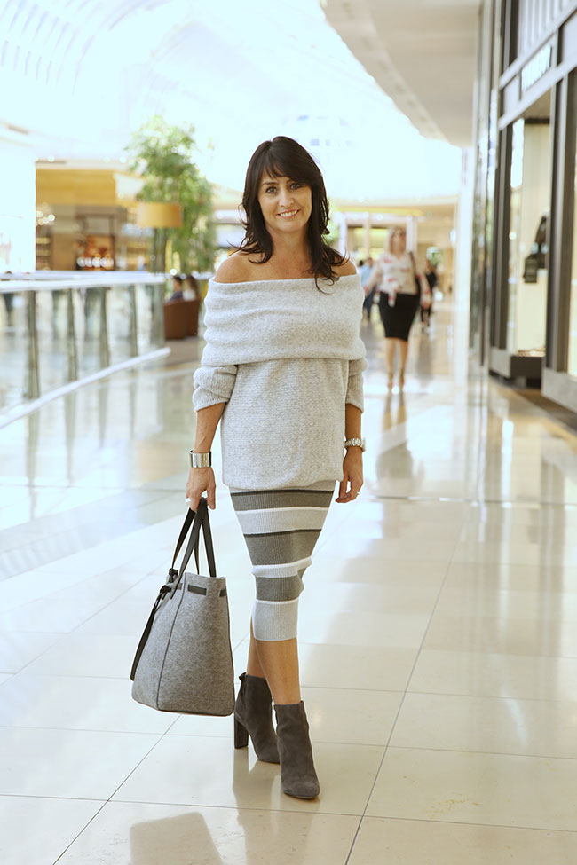 Witchery skirt $99.95, knit $149.95, tote 99.95 and boots $249.95