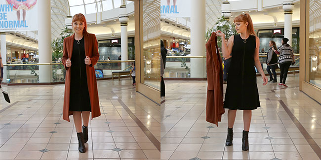 Black sleeveless country road dress on sale for $170 and coat on sale for $249 which Lacey bought!