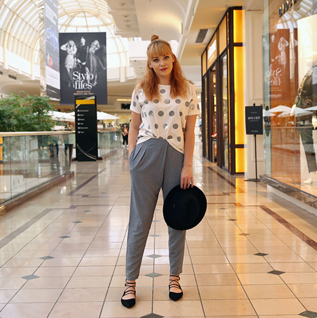 Lacey wearing French Connection pants $99.95 with t-shirt $59.95 and shoes $79.95