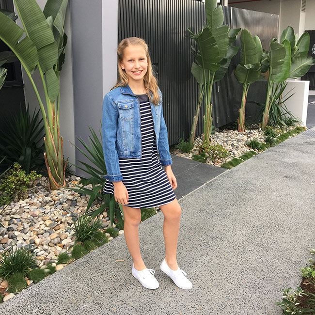 Navy and white striped Dress - Myer Tilii Brand, Denim Jacket - Target and White Vans