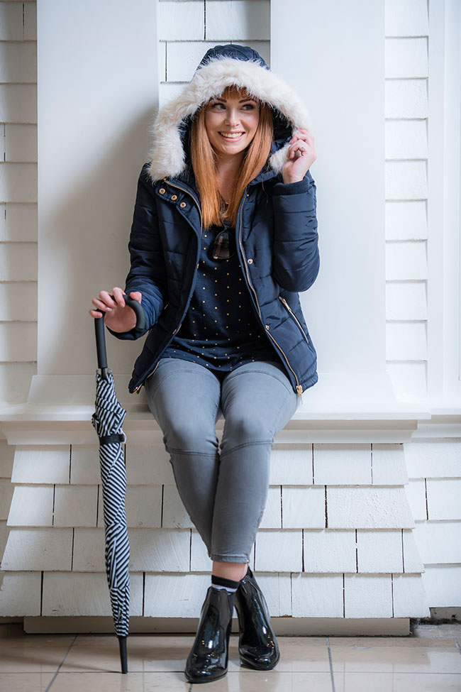 Seed long sleeve top $49.95, jeans $99.95, puffy jacket $199.90, jelly boots $59.95 and glasses $49.95