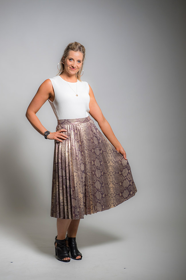 Alice wearing a Zara Skirt and top