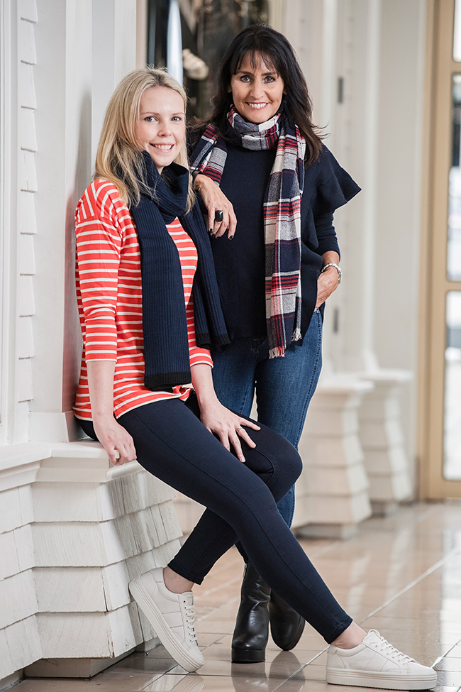 Cindy and Rachel wearing Seed – Easy Stripe Tee, Black Jeans , White Casual Runners, Seed – Frill Sweater, Step Hem Jeans