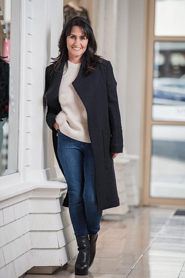 Cindy wearing Seed Pom Pom Sweater, Boucle Coat, Step Hem Jeans