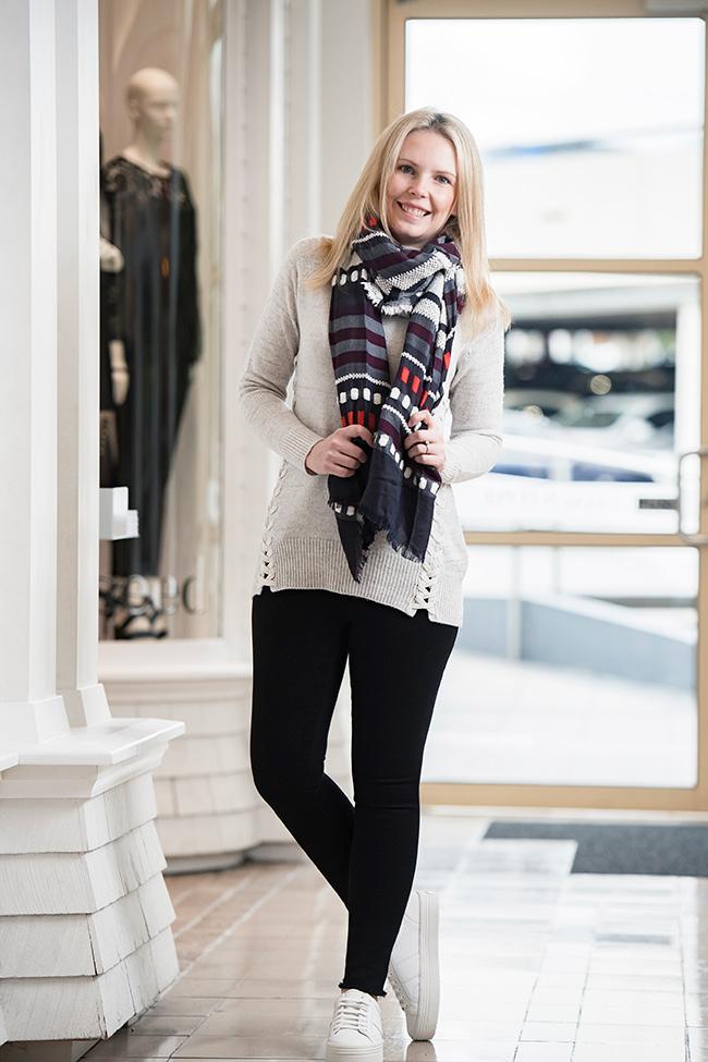 Rachel wearing Seed : Ruby/Red/PL Scarf, Criss Cross Knit, Black Jeans