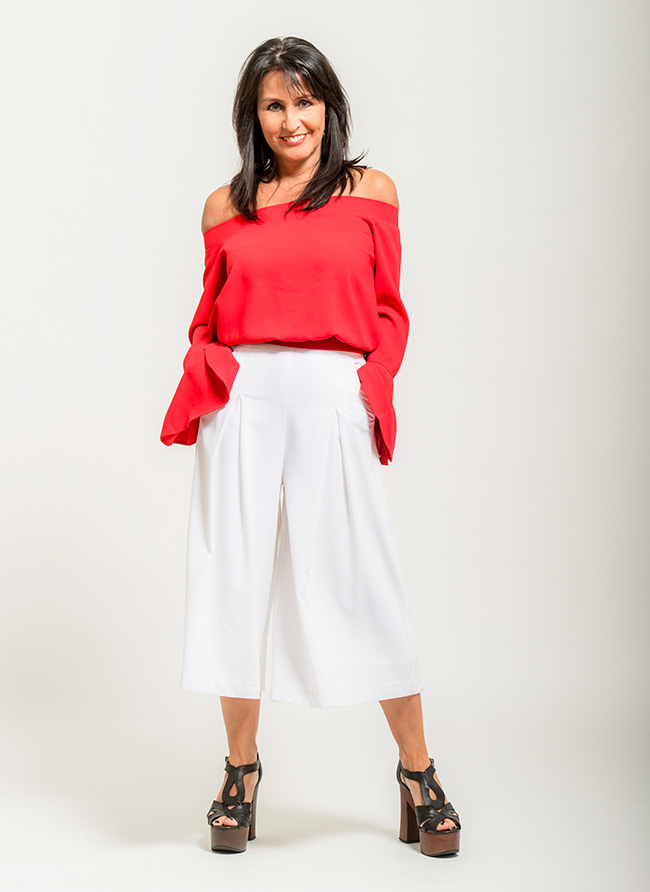 Cindy wearing Sportsgirl Top and Seed Culottes