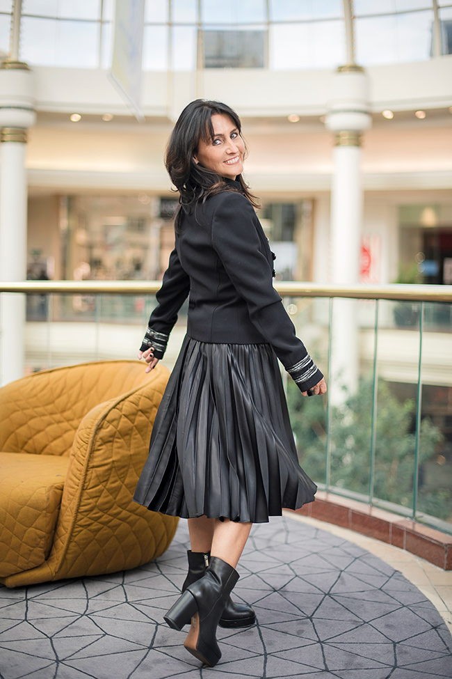 Cindy wearing Witchery Jacket and Skirt and Tony Bianco Dixie Boots
