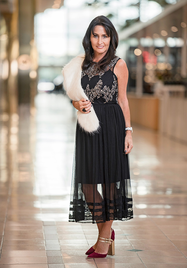 Cindy wearing Allanah Hill Seductive Glamour Dress, With or Without heel and From Russia With Love Stole