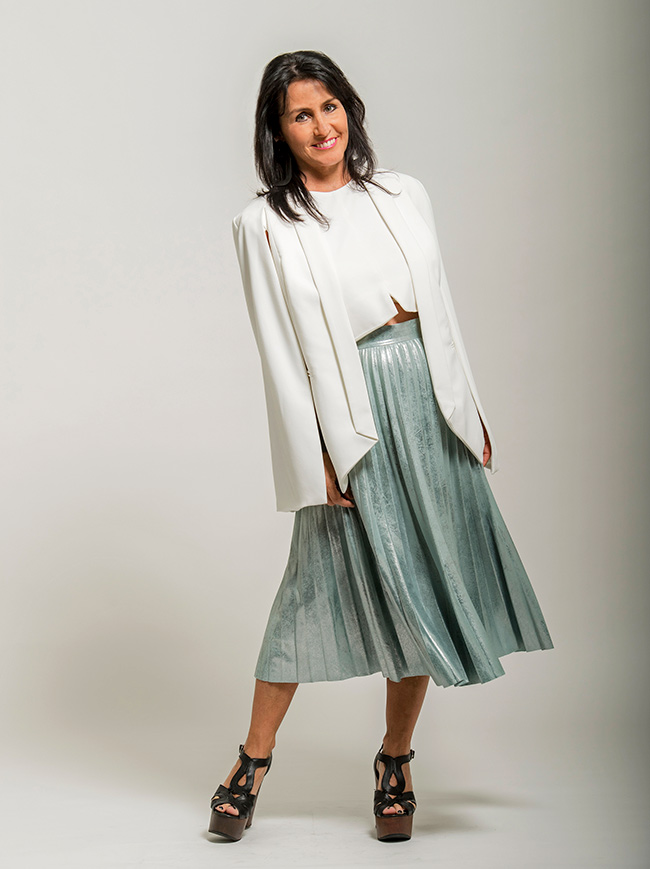 Cindy in Sheike Cape, Bardot Top and Zara Skirt