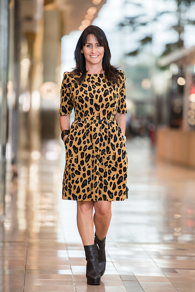 Cindy wearing Gorman Leopard Dress and Tony Bianco Dixie Black Ankle Boot