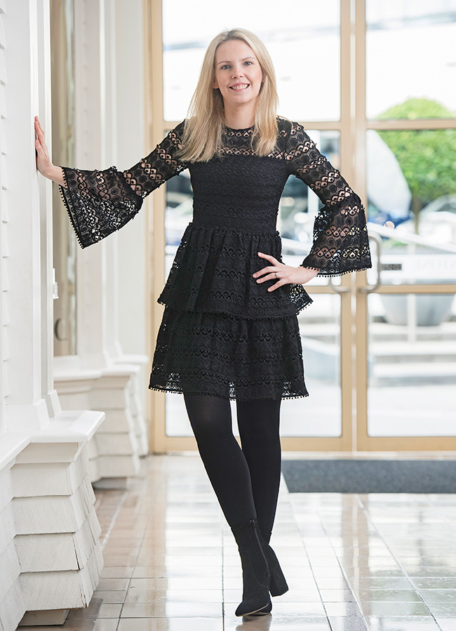 Rachel wearing Seed Bell Sleeve Broderie Dress and Nova Stretch Ankle Boot