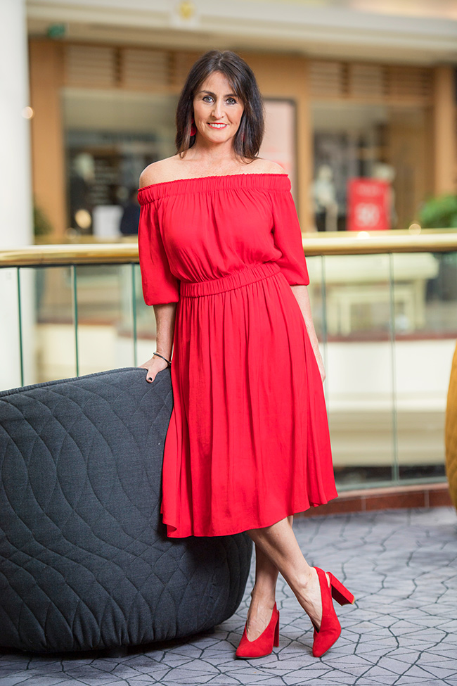 CIndy in Witchery Off Shoulder Waisted Dress