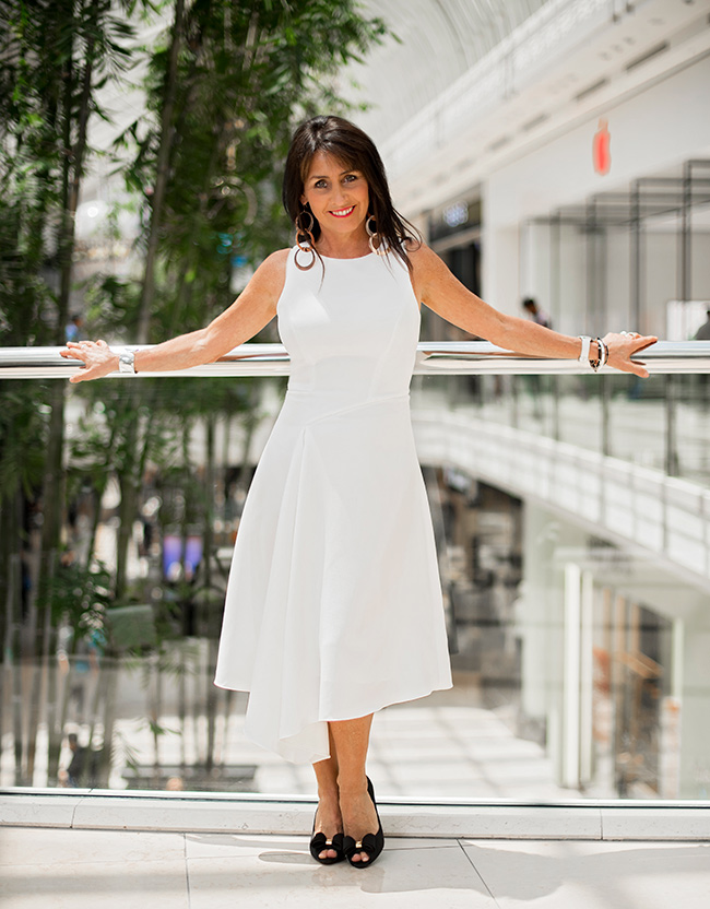 Cindy in a white dress from Ted Baker