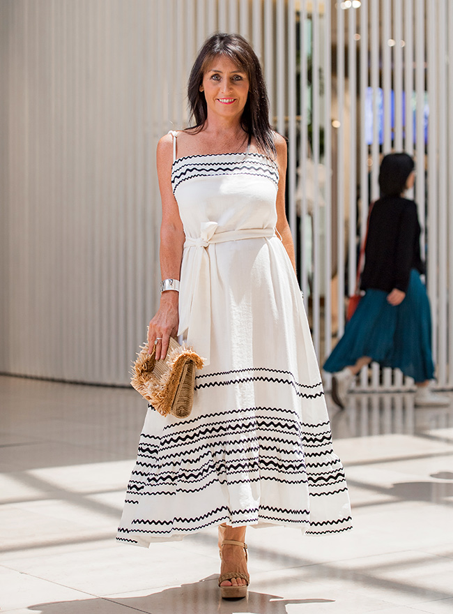 Cindy in Sheike of the Shoulder Maxi Dress