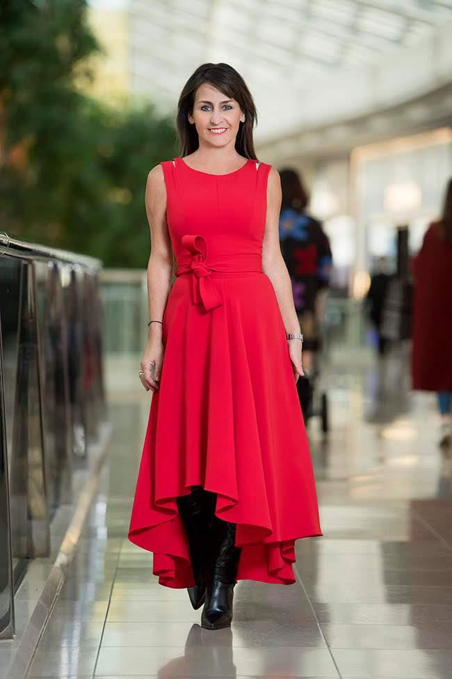 Cindy in Karen Millen Red Dress