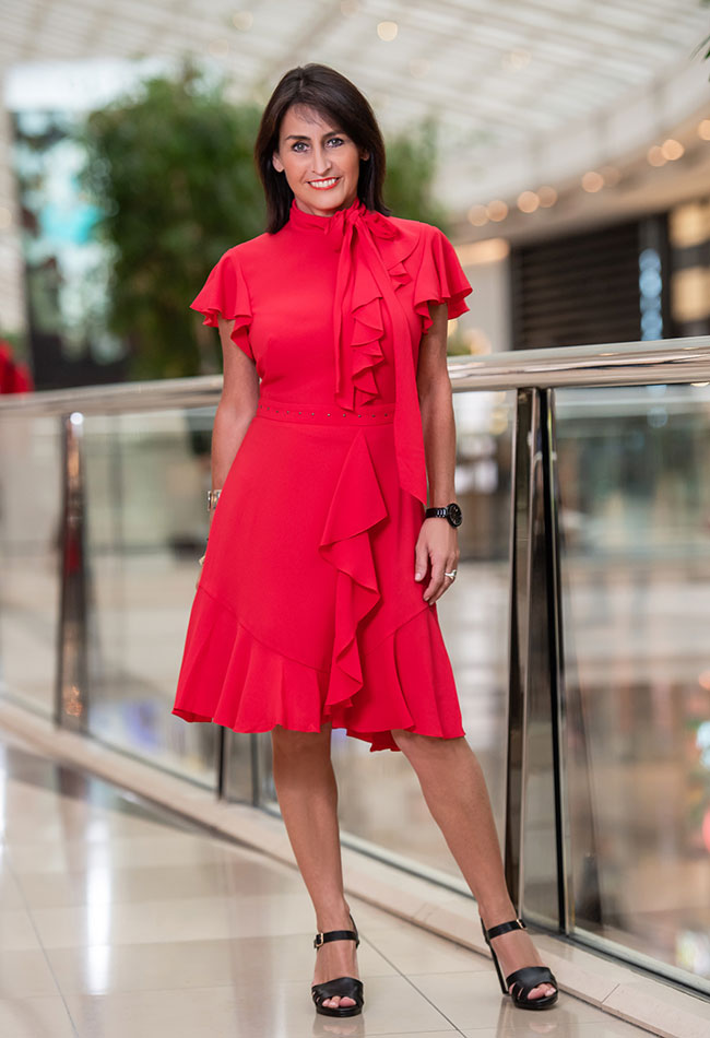 Karen Millen Ruffle Blouson Dress and Jo Mercer Shoes