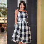 Cin in a Gorman check dress