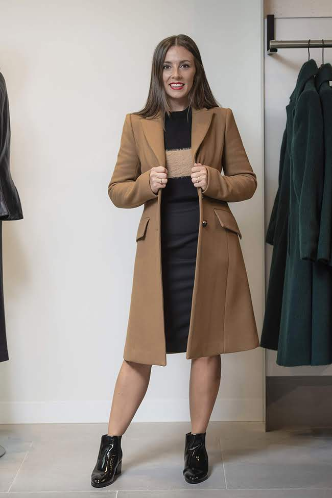 Cue Coat $665, knit $145, skirt $165 & Jo Mercer Boots