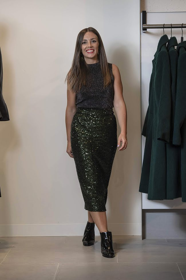 Brie in Cue Lurex top and Sequin Skirt