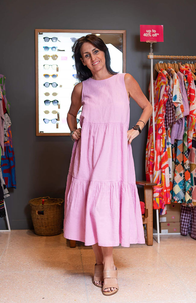 Cindy in a dress from Gorman, it is dressy but also an easy effortless look.