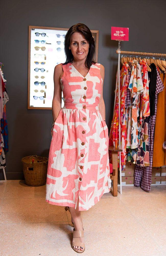 Samon coloured print dress from Gorman